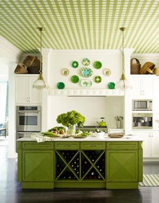 a green and white kitchen with a checker board ceiling in green and white