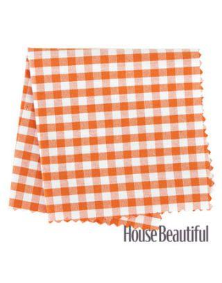 orange gingham fabric