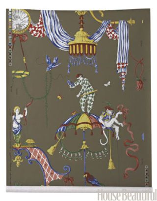 monkey print wallpaper with scenes from a venetian carnival