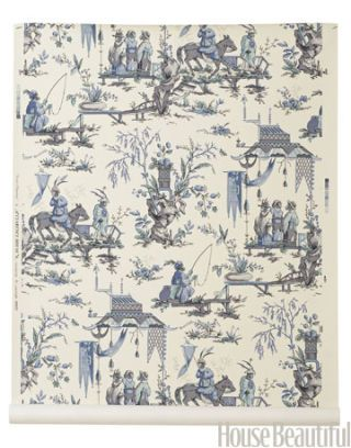blue and white monkey print in chinoise style