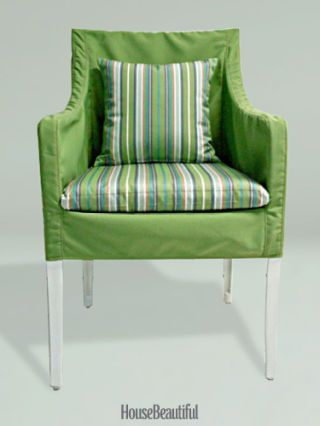 green upholstered chair