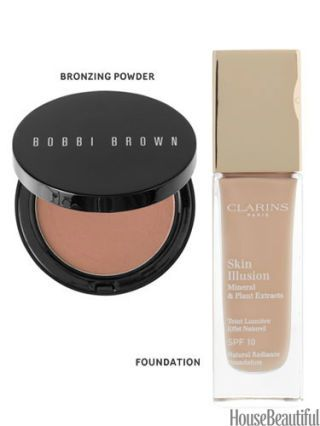 bobbi brown bronzer and clarins foundation