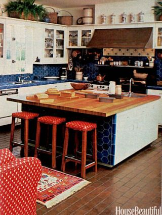 red and blue country kitchen