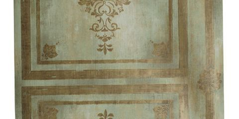 teal and brass hued french themed wallpaper