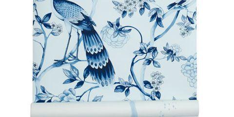 Schumacher Blue And White Bird Wallpaper