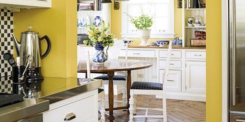 yellow kitchen with parquet floor