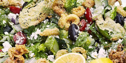greek salad with fried calamari