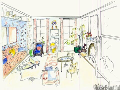 Room design sketch interior designer sketches for Best drawing app for interior designers