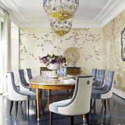 Room, Interior design, Yellow, Floor, Furniture, Chandelier, Table, Light fixture, Chair, Ceiling,