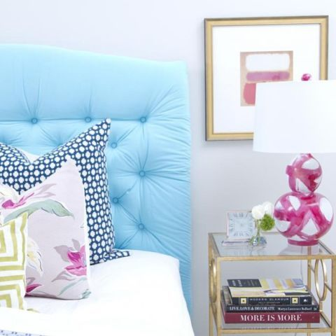 Room, Textile, Interior design, Pink, Wall, Purple, Linens, Pillow, Bedding, Cushion,