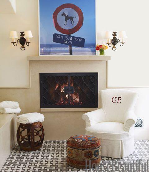 fireplace in bath