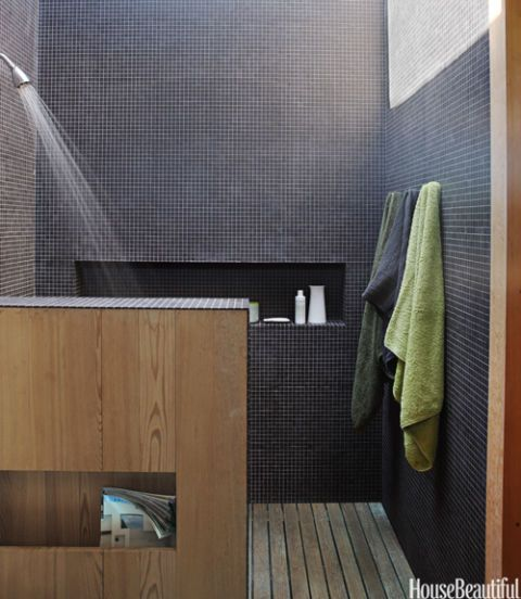 black tiled shower