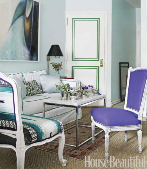 purple felt chair