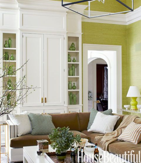 Light Brown Grass Cloth Wall Covering In This Transitional: 25 Green Room Decorating Ideas