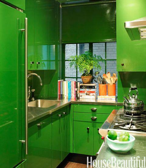 glossy green kitchen