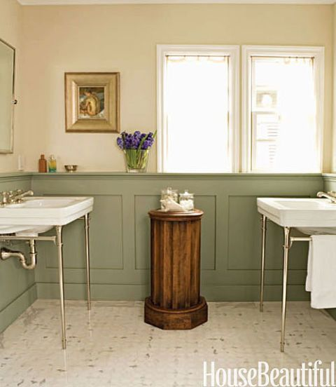 green paneling in bathroom