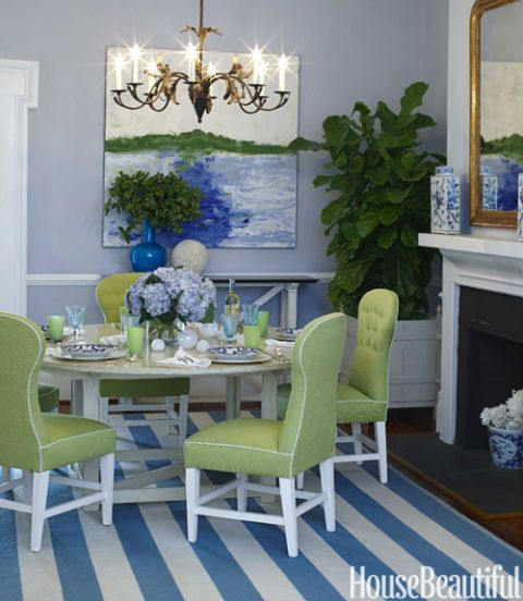 Dining Room With Stripe Rug