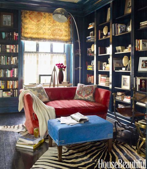 Top Pin of the Day: A Red, White, and Blue Library With a Bohemian Twist