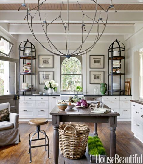 kitchen with large chandelier