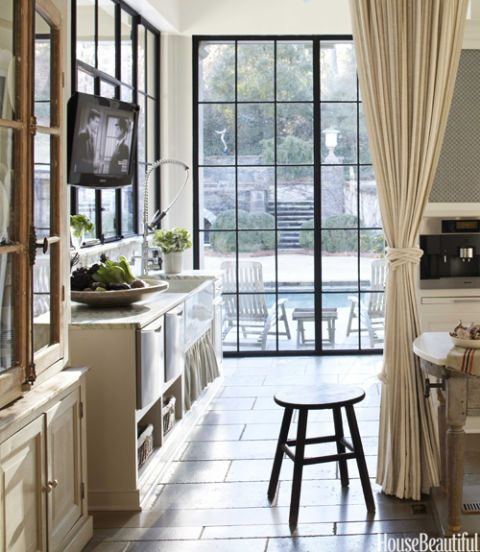 kitchen with casement windows