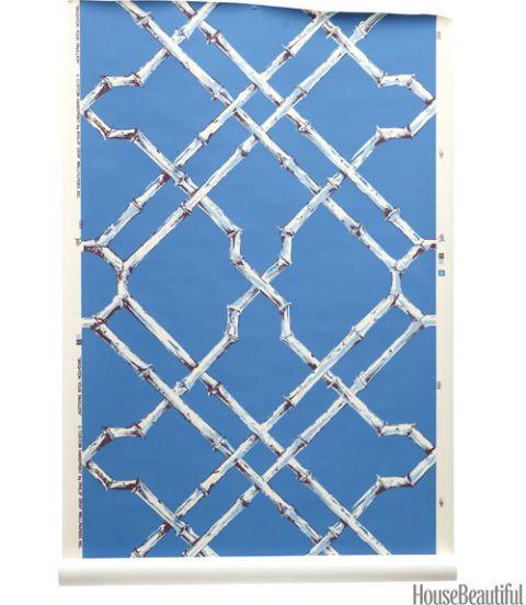 faux-bamboo pattern wallpaper