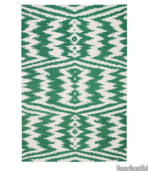 green ikat rug