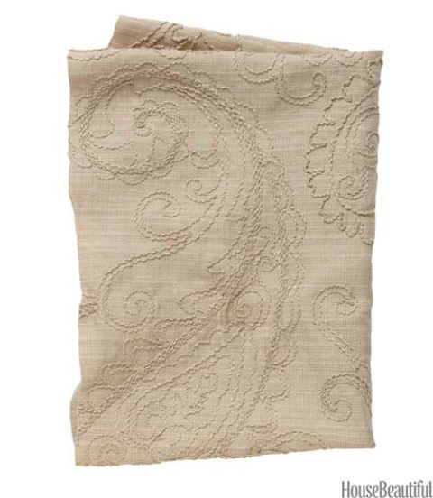 linen neutral paisley fabric