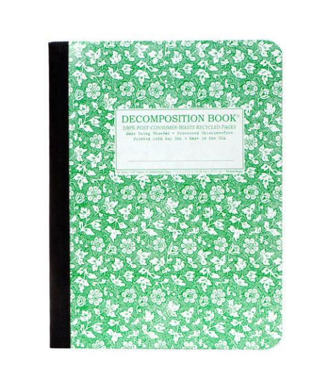green floral decomposition book