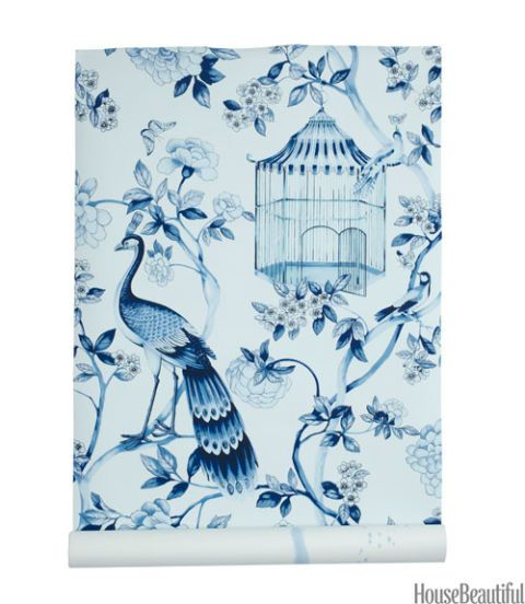 schumacher blue and white bird wallpaper