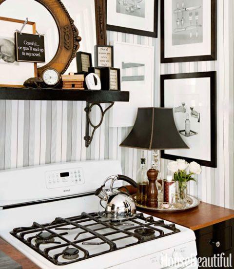 photo frames above stove