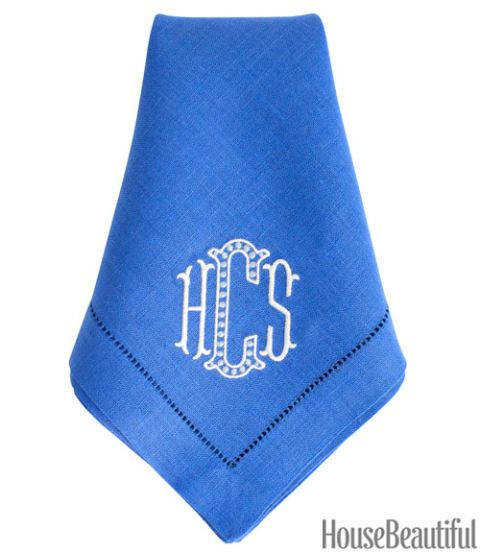 Cobalt Monogram Dinner Napkin