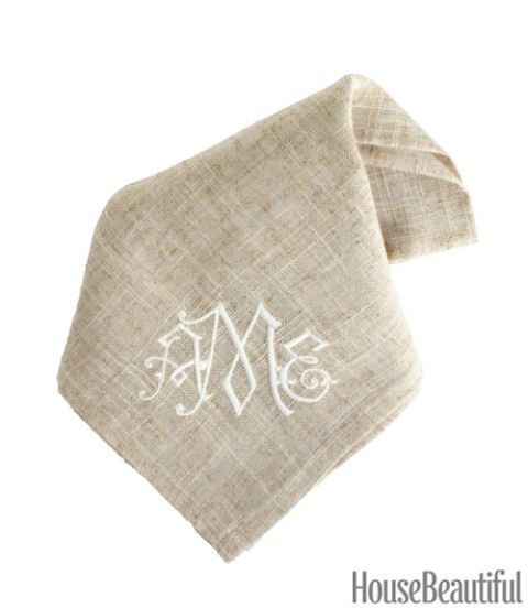 gramercy natural monogram napkin
