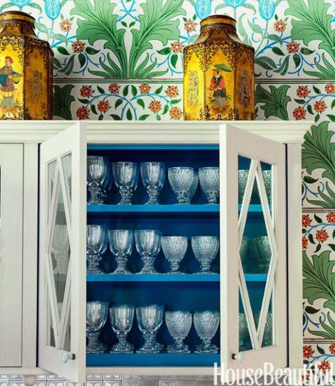 blue interior cabinet
