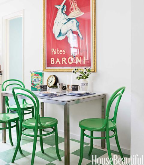 Green Kitchen Nyc: Colorful Classic New York Apartment