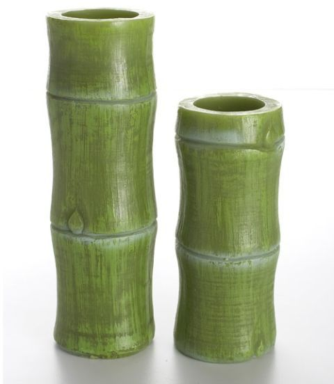 green bamboo candles
