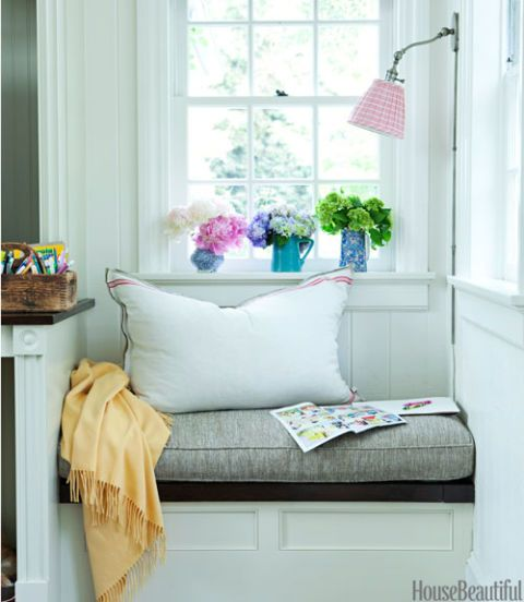 cozy window seat with pillows