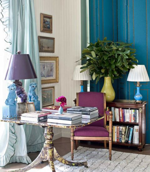 Room, Interior design, Textile, Table, Flooring, Furniture, Floor, Interior design, Lamp, Purple,
