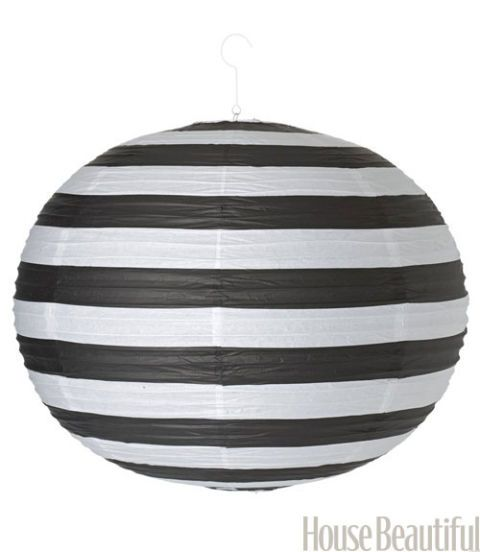 black and white stripe paper lantern
