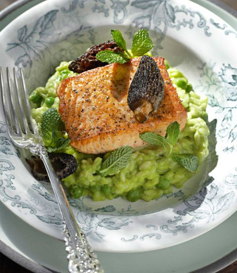 plated salmon with morel mushrooms and peas