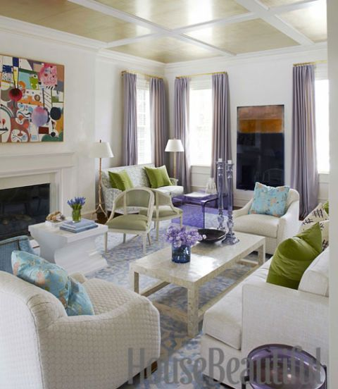 living room with metallic ceiling