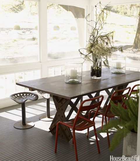 dining table on porch