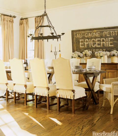 Casual white dining room with French accents.