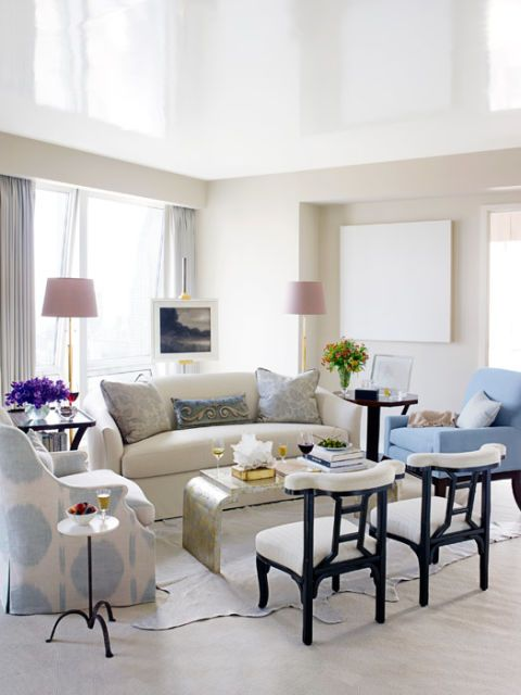 living room with soft blues and whites
