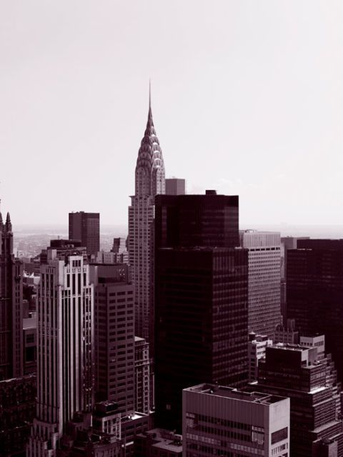 black and white new york city view