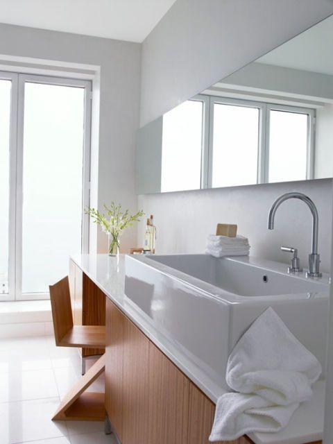 zebrawood and marble rectangular vanity