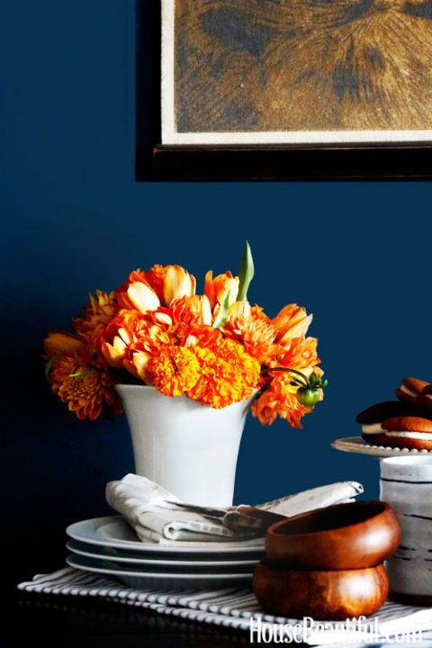 orange flowers dining table