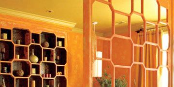 yellow and orange bedroom