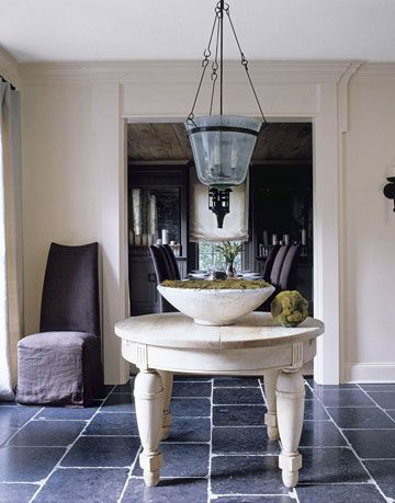 foyer with white table