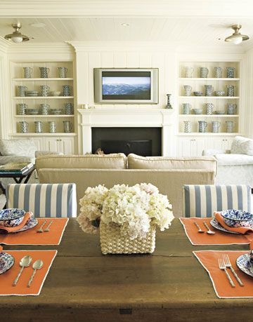 white family room with table