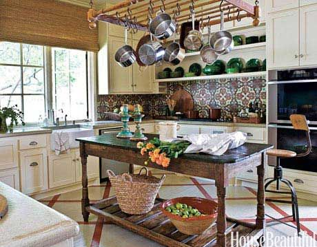 kitchen with backsplash made of french concrete tiles